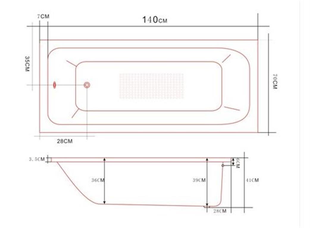 1400mm acrylic bath tub small drop in inset design 1400 for Small baths 1300