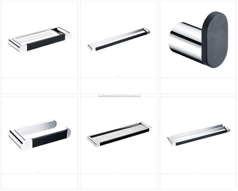 Double towel rail towel ring chrome and matt black - Black and chrome bathroom accessories ...