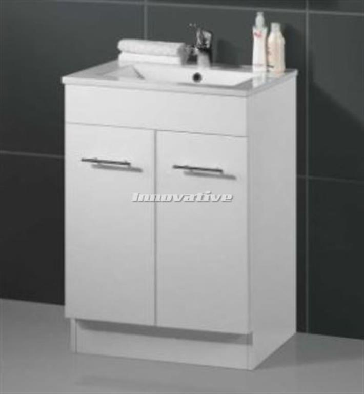 Bathroom tall boy vanity pac white frosted glass door 1330x400x400mm innovative for Bathroom vanity with frosted glass doors