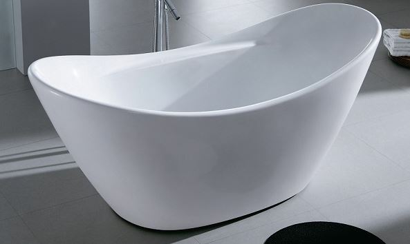 Bath Tub Free Standing Large Modern Oval Raised Back Curve Design ...