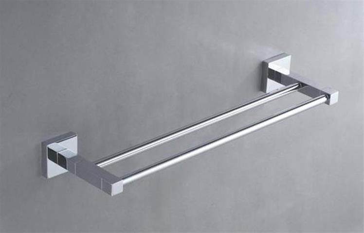 Double towel rail 800mm round tube design bathroom for Double towel rails for bathrooms