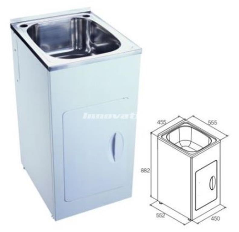 Laundry Trough Sink and Metal Cabinet 35 Litre Slim 455mm wide ...
