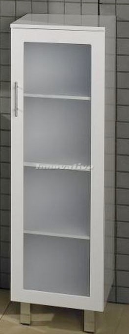 Bathroom tall boy vanity pac white frosted glass door - Bathroom vanity with frosted glass doors ...