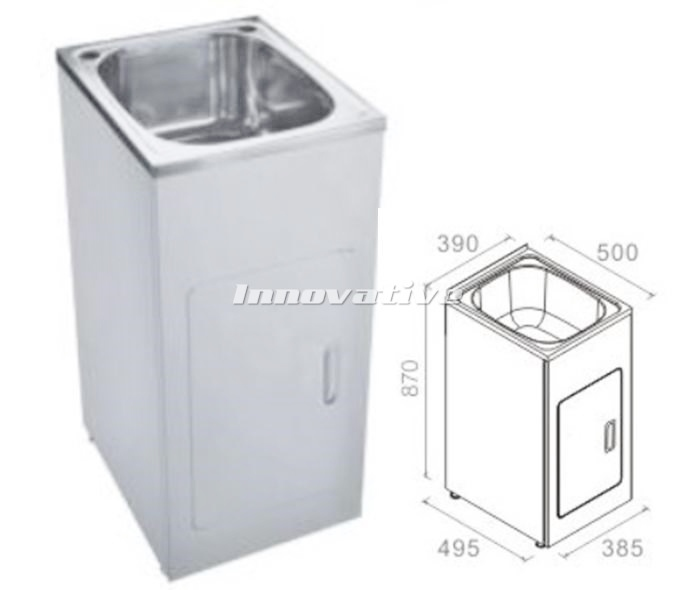 White Laundry Trough : Laundry Trough Sink and Metal Cabinet 27 Litre Ultra Slim Stainless ...
