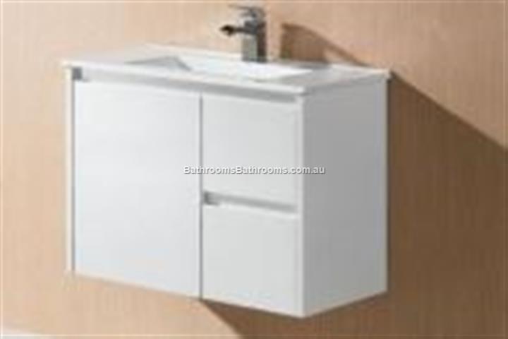 bathroom wall hung vanity slimline basin ceramic top 730w x 355x