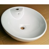 Semi Recessed Ceramic Basin Modern Round Design with Overflow