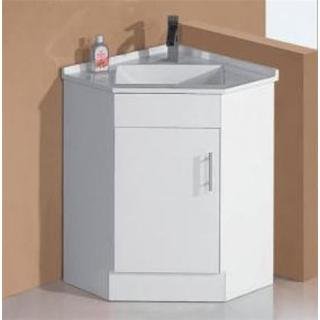 Bathroom Corner Vanity With Basin Top White High Gloss 2 Pac 600wx600d mm