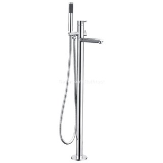 Free Standing Floor Mounted Bath Mixer Spout & Hand Shower Tap Faucet Brass Chrome Curve