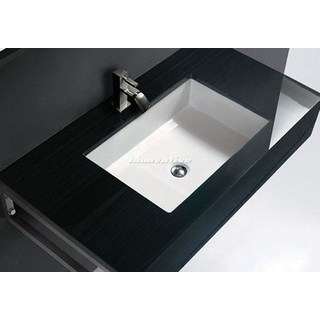 Undermount Ceramic Basin Cube Design 430w x 330d mm with Overflow NEW