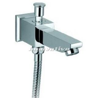 Bath Spout with Shower Diverter Cube Design, Solid Brass Chrome Finish