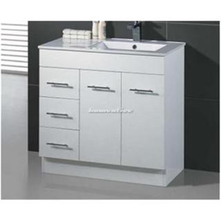 Bathroom Vanity & Basin Ceramic Top 2 Pac White Handles Kickboard 900W x 460mm