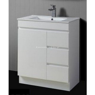 Bathroom Vanity 750Wx460mm & Basin Ceramic Top 2 Pac Fingerpull