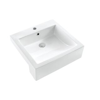 Semi Recessed Ceramic Basin Cube Design Lge 510w x 500d mm with Overflow NEW (702)