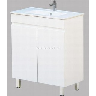 Bathroom Vanity Narrow 750Wx390mm & Basin Ceramic Top 2 Pac Fingerpull Slim