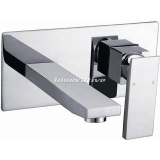 Cube Bold Combination Wall Mixer/ Bath Mixer With Spout, Chrome Finished brass construction