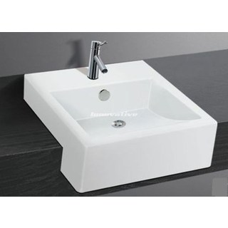 Semi Recessed Ceramic Basin Cube Design Med 410w x 460d mm with Overflow NEW (207)