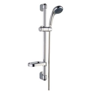 Hand Shower on Rail Round 3 Function, Soap Dish, Brass Mounts Slide Rail Elbow Chrome Finish (C10)