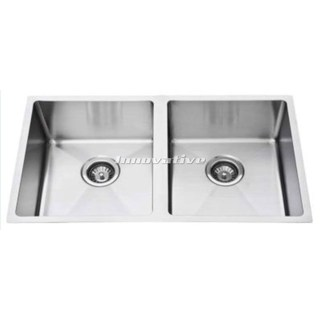 Double 34L Bowl Under Mount Kitchen Sink Cube Hand Made 910x450x220