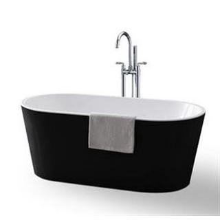Bath Tub Free Standing 1500mm Black & White Modern Oval Curve Design 1500*750*580