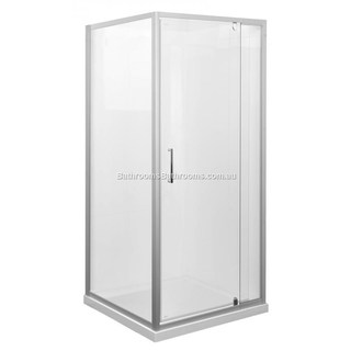Marbletrend Kimberley Shower Screen 1m*1m Complete Door And return Panel Semi Frameless WHITE