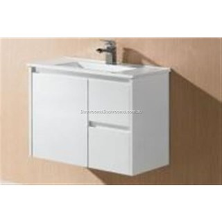 Bathroom Wall Hung Vanity Slimline & Basin Ceramic Top 730W x 355x 520mm