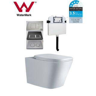 In Wall Toilet Suite New Ceramic S&P trap Soft Close Seat Concealed Cistern Cube: Panel Options