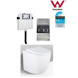 In Wall Toilet Suite New Ceramic S&P trap Soft Close Seat Tapered Curve Concealed Cistern Panel Options