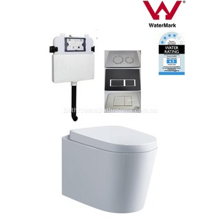 In Wall Toilet Suite New Ceramic S&P trap Soft Close Seat Concealed Cistern Curve FREE SHIPPING