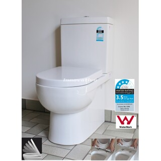Back To Wall  Ceramic Toilet Suite S&P Trap Soft Close Seat 3 Inlet Options WELS4*