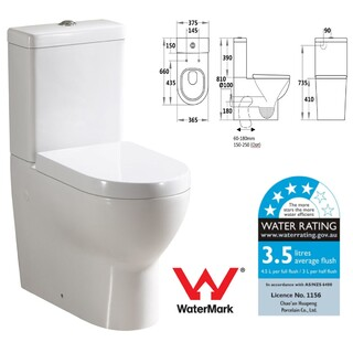 Back To Wall Toilet Suite Elite Curve Design S&P Trap Soft Close Seat WELS 4*