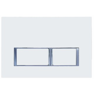 White Square Mechanical Flush Panel for In Wall Cistern