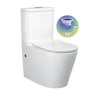 Back To Wall Tornado flush Toilet Suite Nano Glaze S&P Trap Soft Close Seat