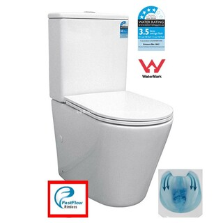 Back To Wall Rimless Toilet Suite SHORT PROJECTION 605mm Ceramic S&P Trap Soft Close Seat