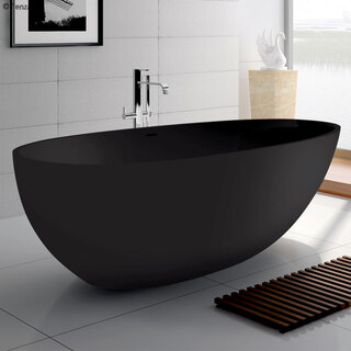 Solid Surface Stone Free Standing Bath Tub Matte Black Avocado 1685*880*560mm