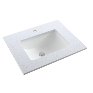 Stone Benchtop UPGRADE Ice White (Grey Specle) Incl Undermount Ceramic Basin 900mm