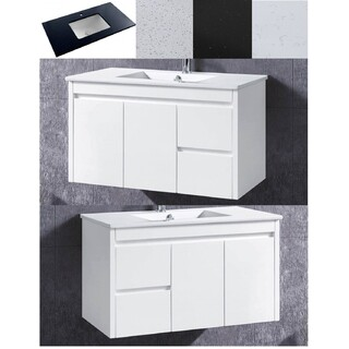 Bathroom Wall Hung Vanity & Basin Ceramic/Stone/No Top 2 Pac 900W x 450mm