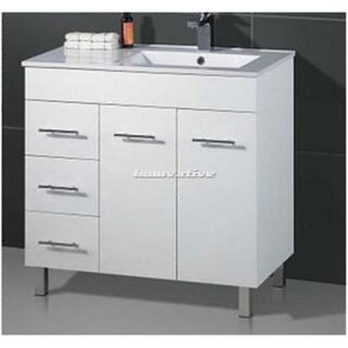 Bathroom Vanity & Basin Ceramic Top 2 Pac White Handles Feet 900W x 460mm