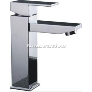 Cube Design Bathroom Basin Mixer Fixed Chrome Finished Brass WELS 4