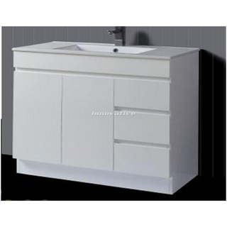 Slimline 900W x 390mm Bathroom Vanity & Basin Ceramic Top 2 Pac Fingerpull