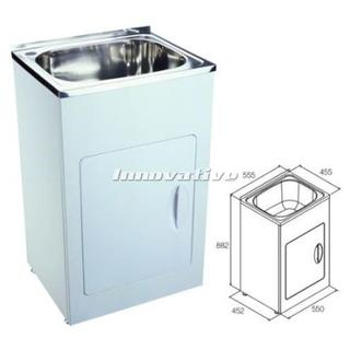 Laundry Trough Sink and Metal Cabinet 35 Litre 555mm Wide Stainless Steel NEW 555w x 455d