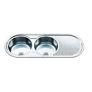 Double Bowl Round & Drain Kitchen Sink Large 1270*480*170