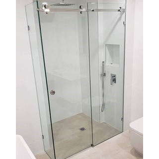 Frameless Adjustable Sliding Shower Screen 1200*900 8mm Front / Return Panel Set Toughened Glass