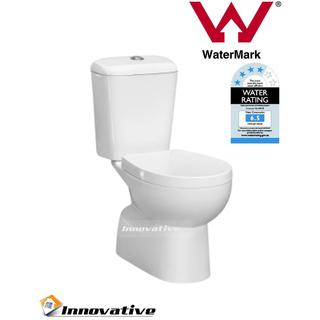 P-Trap Close Coupled Toilet Suite, Easyclean Oval Base,(Wall Waste), Soft Close Seat  WELS4*