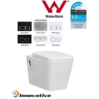 Wall Hung Wall Mount Toilet, Soft Close Seat,In Wall Concealed Cistern WELS4* Cube